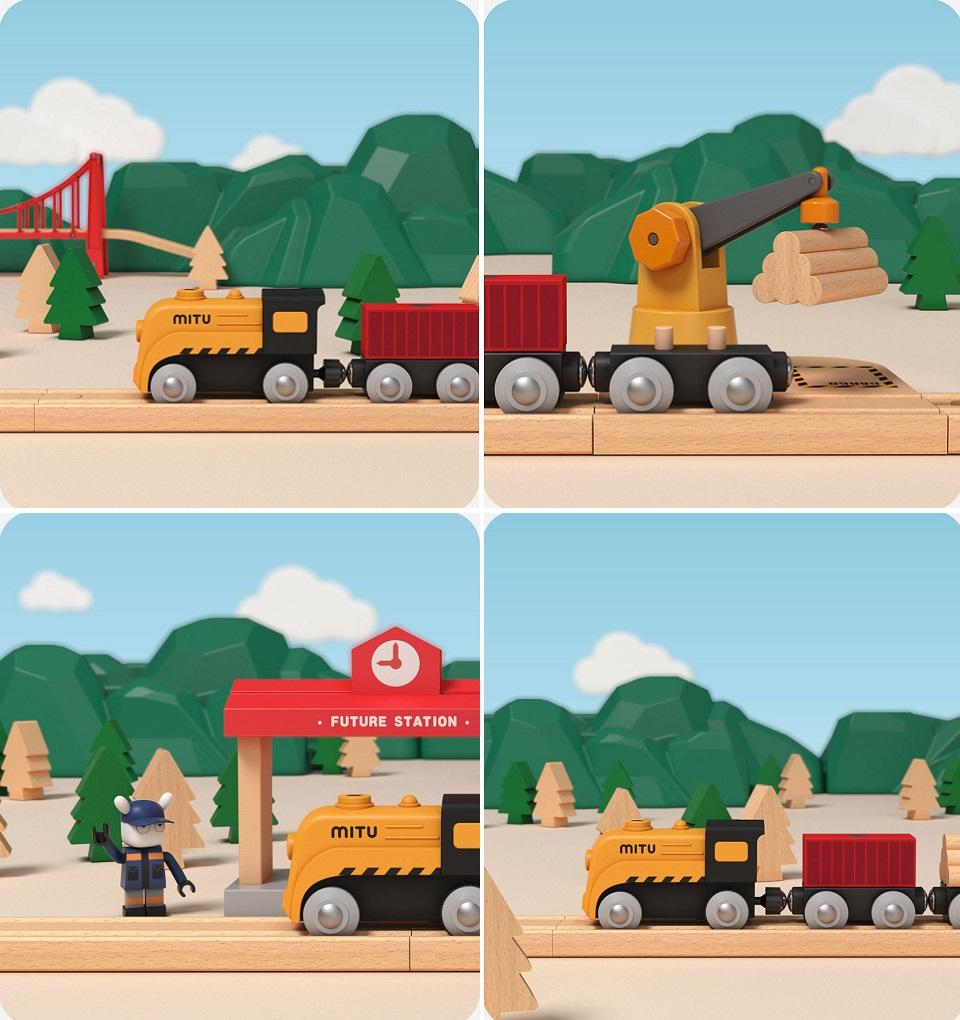 Деревянная железная дорога Mitu Toy Train Set 63 Pcs перевозка грузов
