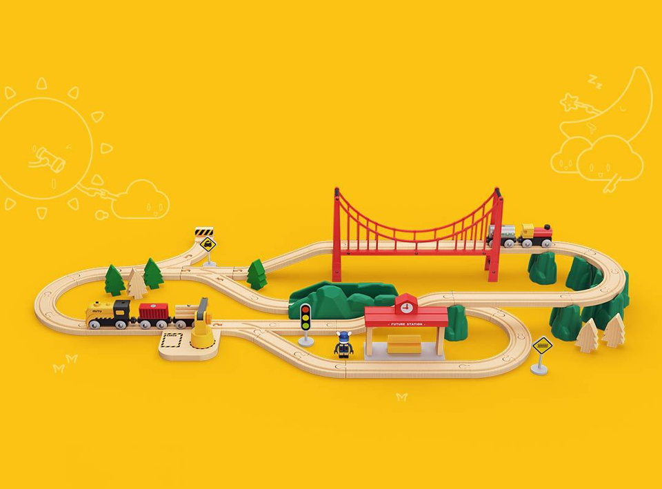 Деревянная железная дорога Mitu Toy Train Set 63 Pcs в собраном виде