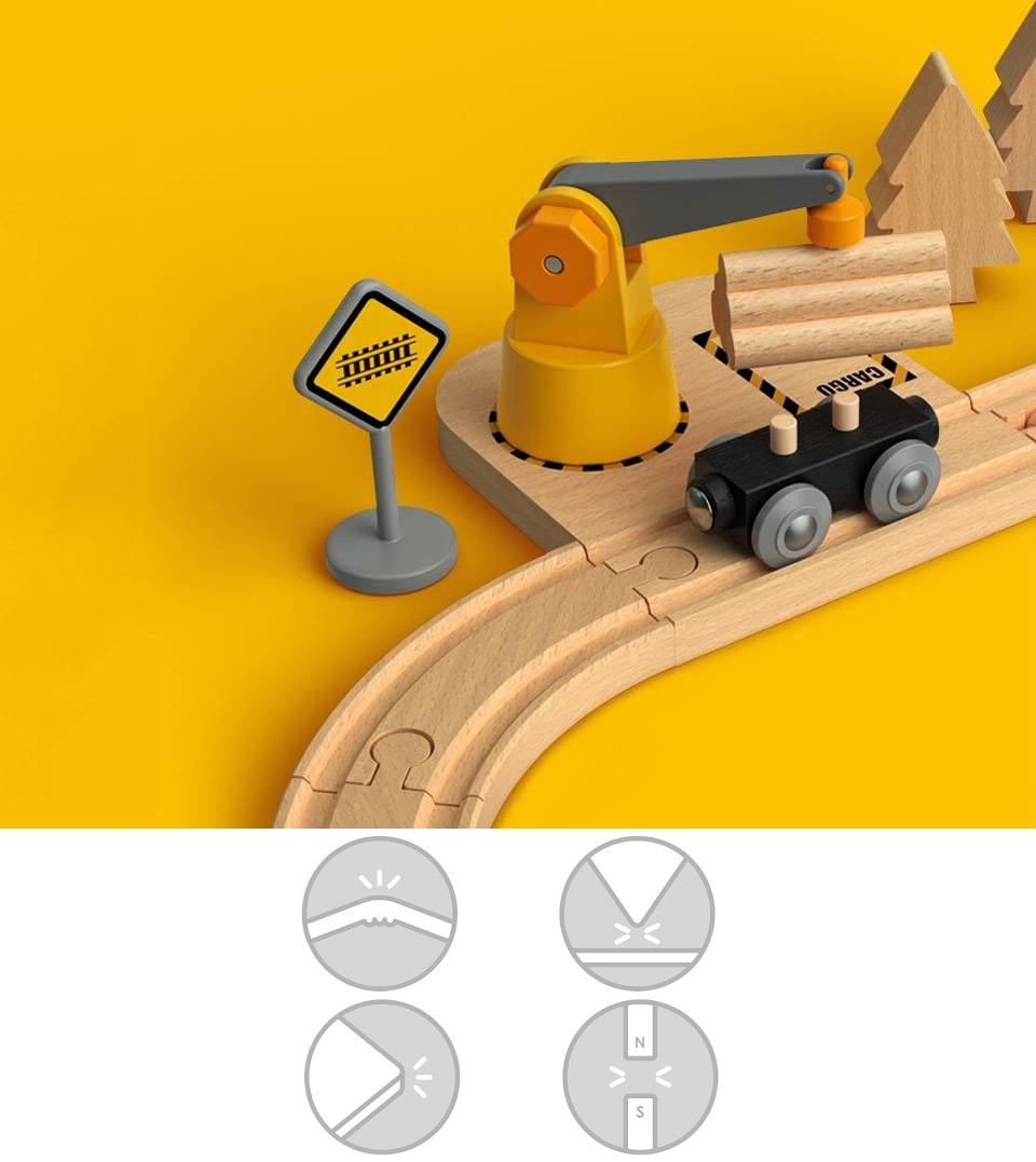 Деревянная железная дорога Mitu Toy Train Set 63 Pcs перевозка леса