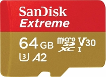 Карта памяти SanDisk Extreme microSDXC Class 10 UHS Class 3 V30 A2 160MB/s 64GB + SD adapter SDSQXA2-064G-GN6MA